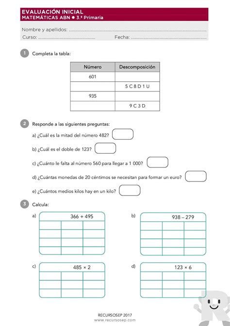 3 primaria anaya matemticas evaluacion inicial recursosep matematicas 3 primaria abn 001