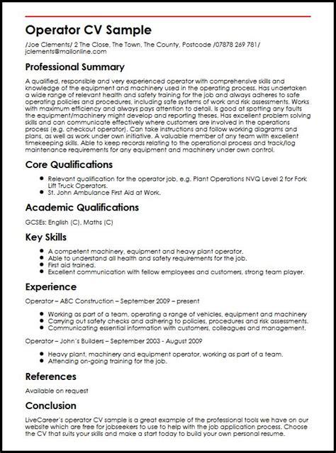 Sample Machinist Resume by Operator Cv Sample Myperfectcv