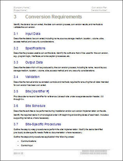 conversion plan template conversion plan templates ms word