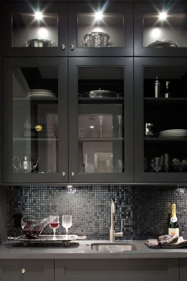 black glass tiles for kitchen backsplashes butler pantry cabinets contemporary kitchen
