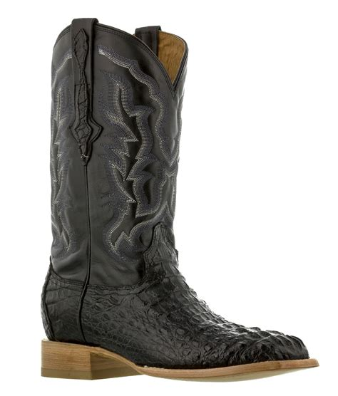 mens black real crocodile square toe cowboy leather boots