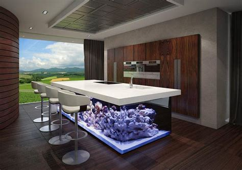 Public Dining Room by The Ocean Kitchen A Giant Aquarium Kitchen Island By