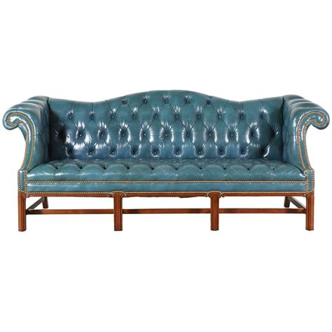 vintage leather teal blue chesterfield sofa at 1stdibs