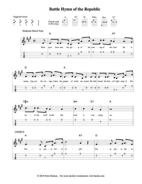 printable sheet music for ukulele battle hymn of the republic ukulele sheet music