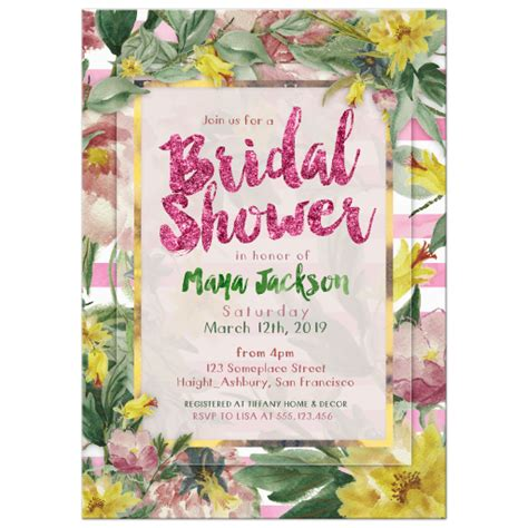nature themed bridal shower invitations nature bridal shower invitation pink green and yellow