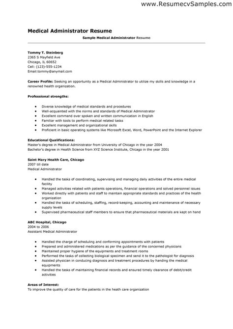 exle of healthcare resume resume profile exles healthcare administration resume