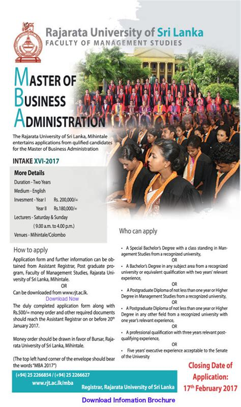 Mba Of Rajarata by Application Called For Master Of Business Administration