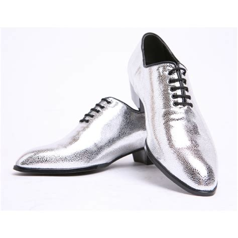 silver lace high heels mens pointed toe glitter silver lace up high heels oxfords