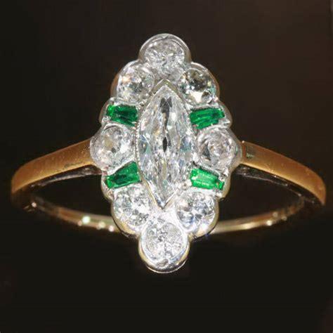 antique marquise engagement ring emerald