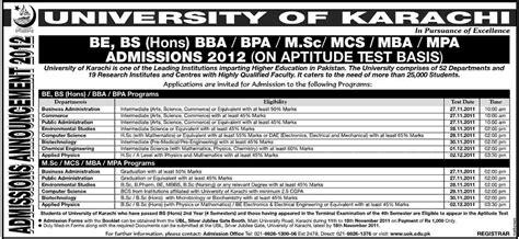 Aptitude Test Of Mba In Karachi by Of Karachi Announces B E Bs Hons Bba Bpa