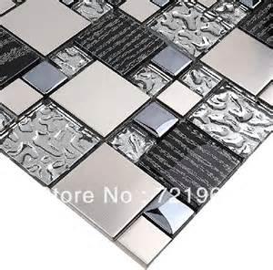 silver glass tile backsplash silver metal mosaic stainless steel tile kitchen