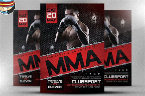 Mma Flyer Template 2 Flyer Templates On Creative Market Mma Flyer Template