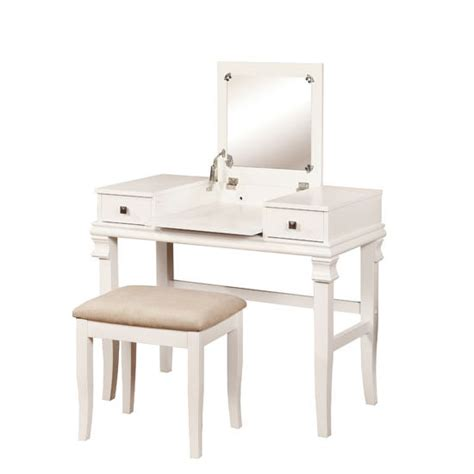 Side Storage Vanity Set by Linon Angela Vanity Set With Beige Upholstered Seat And