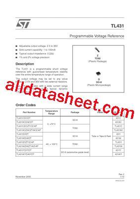 transistor tl431 datasheet tl431 datasheet pdf stmicroelectronics