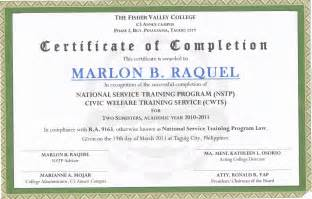The fisher valley college certificate of completion in nstp sample