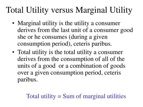 total utility vs marginal utility ppt the consumer theory powerpoint presentation id 227168