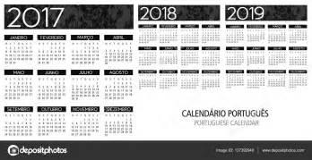 Calendario De 2017 E 2018 Grade Portuguesa Calend 225 2017 2018 2019 Vetor De