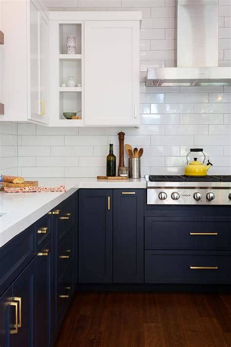 Navy Blue Kitchen Cabinets Navy Shaker Kitchen Cabinets With Brushed Brass Pulls Transitional Kitchen