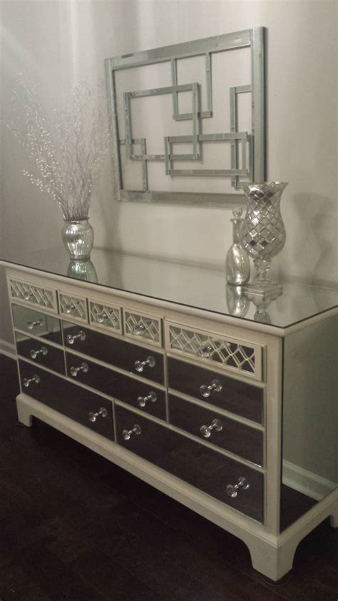Mirrored Dresser by Mirrored Dresser White With Overlay Chic Mirror