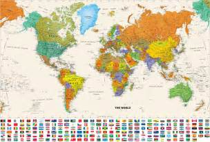 world maps stock photos of world mural map with flag illustration images photography royalty