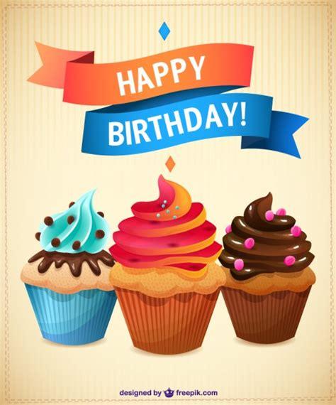 imagenes de happy birthday originales tarjeta de cumplea 241 os con cupcakes descargar vectores gratis