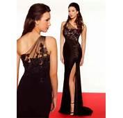 Long Evening Wear Dresses Black One Shoulder Sheer Slit Formal Party
