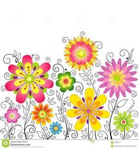 Flora Decor Fondo Con I Fiori Stilizzati Immagine Stock Immagine