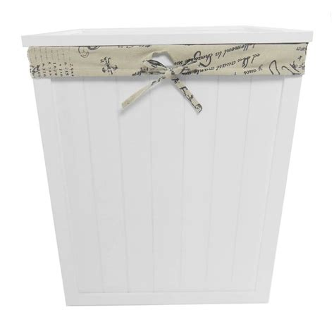 shabby chic white brown pine wooden laundry basket toy box