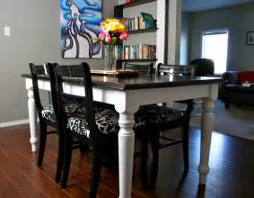 Ikea Dining Table Redo Refinished Top Black Oak Table And Chairs How To Refinish