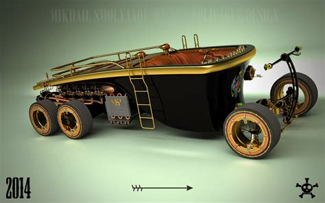 Auto Shop Floor Plans Steampunk 6 Wheel Land Yacht Is A Car From The Future Past