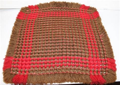 19th century handwoven table mat from pennsylvania for