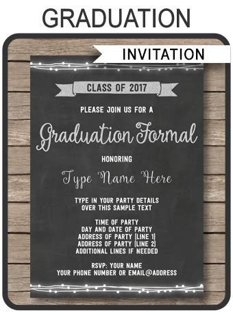Graduation Formal Invitation Editable And Printable Template 2017 Graduation Announcements Templates 2017