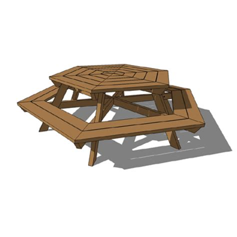 Landscape Timber Hexagon Picnic Hex 3d Model Formfonts 3d Models Textures