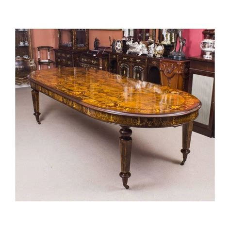 Handmade Table L - bespoke handmade burr walnut marquetry dining table and 8