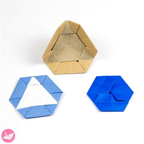Triangular Origami - origami triangle hexagon coaster tato tutorial paper