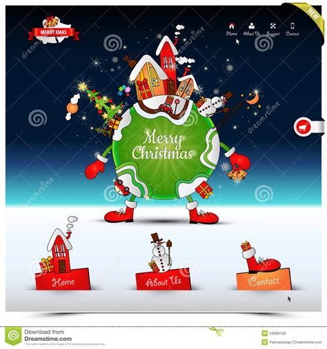 christmas night website template stock vector image