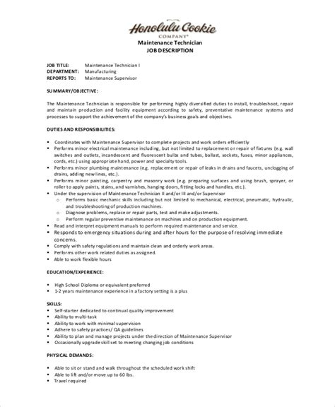 Mechanic Technician Description by Maintenance Description 9 Free Pdf Documents Free Premium Templates