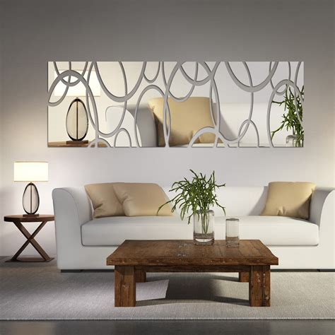 living room decals acrylic mirror wall decor art 3d diy wall stickers living