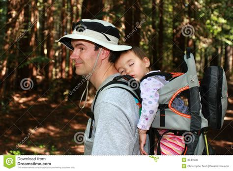 Hekeng Babi hiking with baby stock photo image 4944900