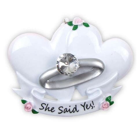 or494 engagement ring personalized christmas ornament