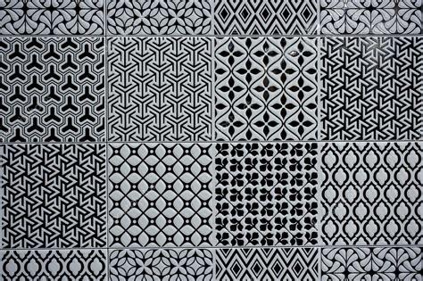 piso vintage azulejo de piso vintage de blanco y negro foto de stock