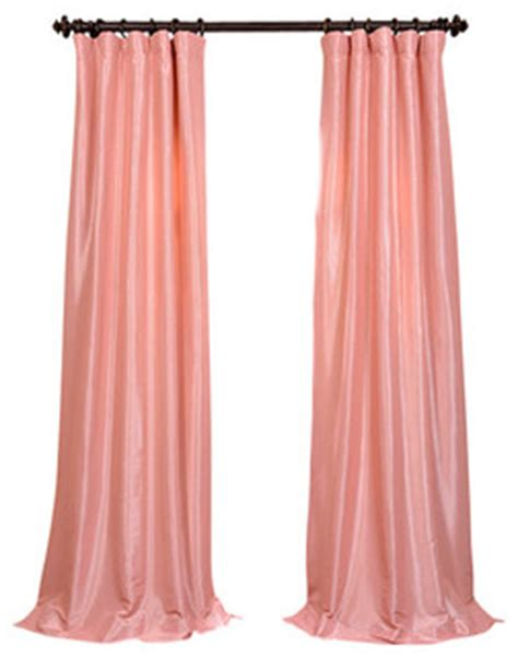 pink silk curtains flamingo pink faux silk taffeta curtain single panel