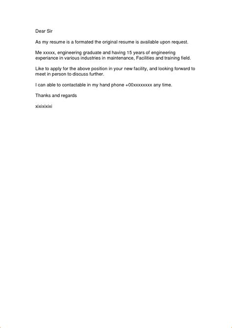 exle of simple cover letter for application a simple cover letter for a application