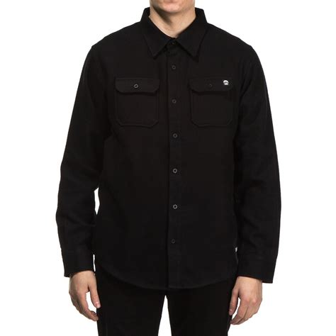 mens solid color flannel shirts gnarly solid flannel shirt black lg