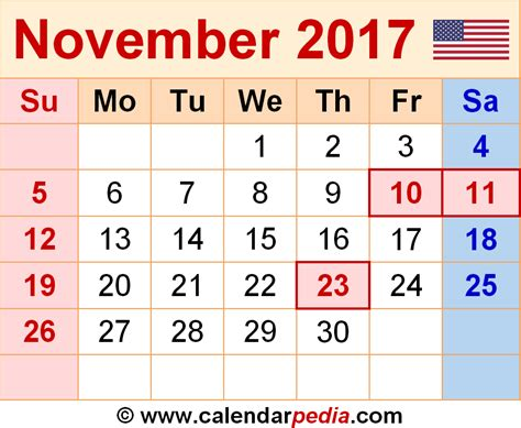 Calendar 2017 November And December With Holidays November 2017 Calendars For Word Excel Pdf