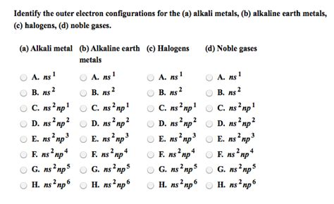 tutorial questions on electron configuration solved identify the outer electron configurations for the