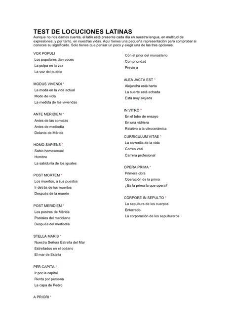 libro las locuciones en espaol test de locuciones latinas