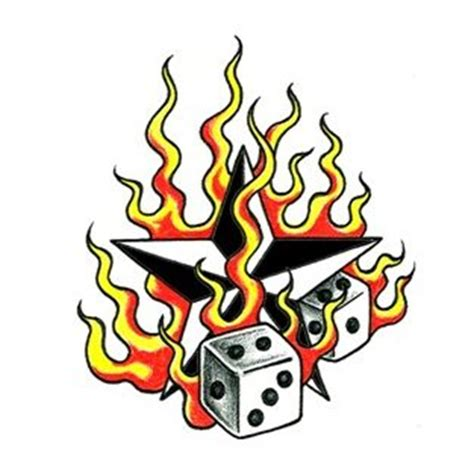 star with flames tattoo designs flames and dice design tattoowoo