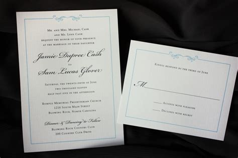 Hochzeitseinladungen Einfach by Simply Light Blue And Gray Scroll Border Wedding