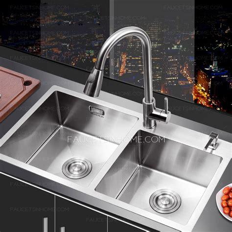 double sink kitchen nickel brushed stainless steel kitchen sinks double bowls